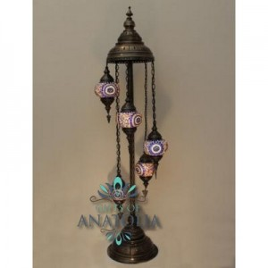 STANDING  MOSAIC LANTERN SET SIZE 2 WITH 5 SHADES